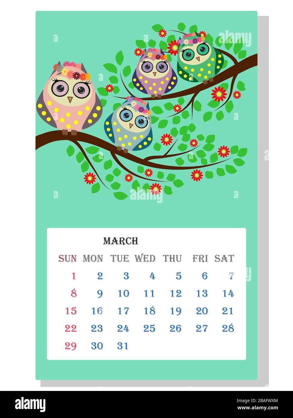 Calendario 2021. Gufi e uccelli carini per ogni mese Immagine e