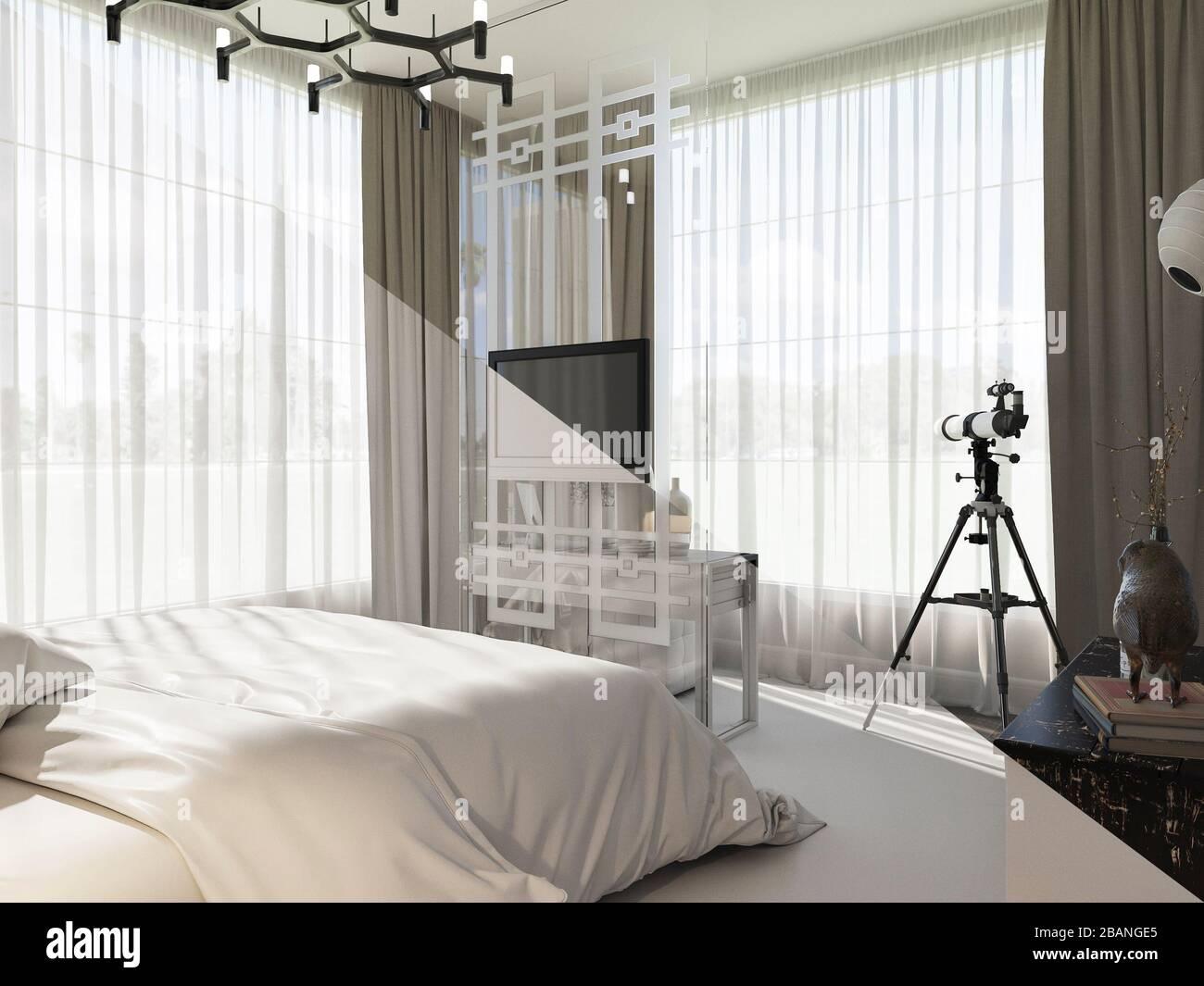 Camera Da Letto In Prospettiva Centrale 3d interior rendering plan view immagini & 3d interior