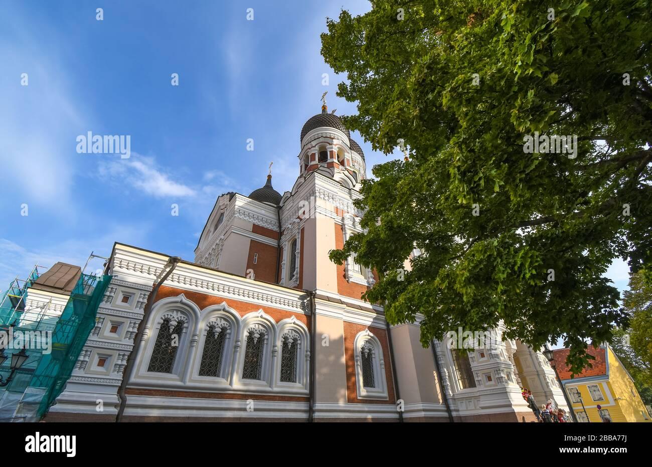 La facciata della Cattedrale di Alexander Nevsky sulla collina di Toompea nella città medievale di Tallinn Estonia. Foto Stock