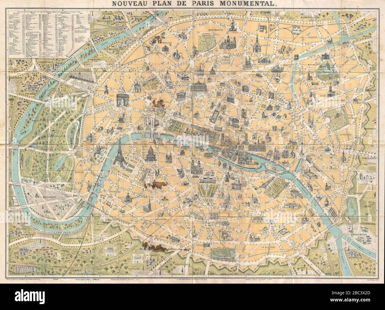 Parigi Cartina Monumenti.Guilmin Mappa Di Parigi Francia Monumenti Geographicus Paris Guilmin Foto Stock Alamy