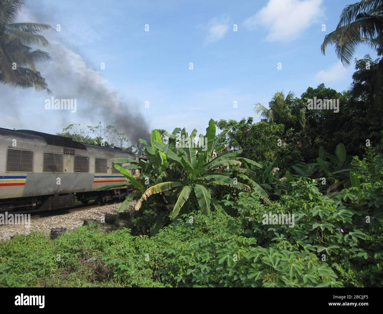 """""""Inglese: Fumo diesel e alberi. Un chilometro a nord di Gemas sulla linea orientale della Malesia, la Jungle Railway, Gemas.; 23 maggio 2012; proprio lavoro; Travelpleb; ' Foto Stock"""