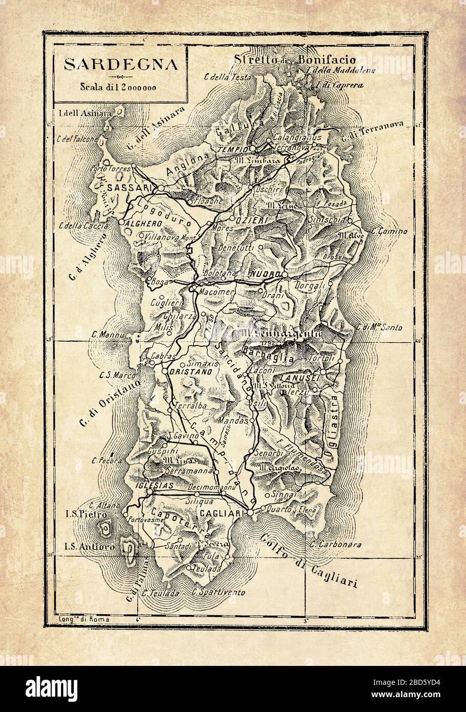 Cartina Antica Sardegna.Vecchia Mappa Della Sardegna Immagini E Fotos Stock Alamy