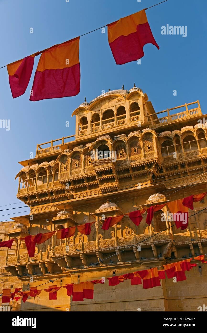 Raja Ka Mahal Palace Jaisalmer Forte Rajasthan India Foto Stock