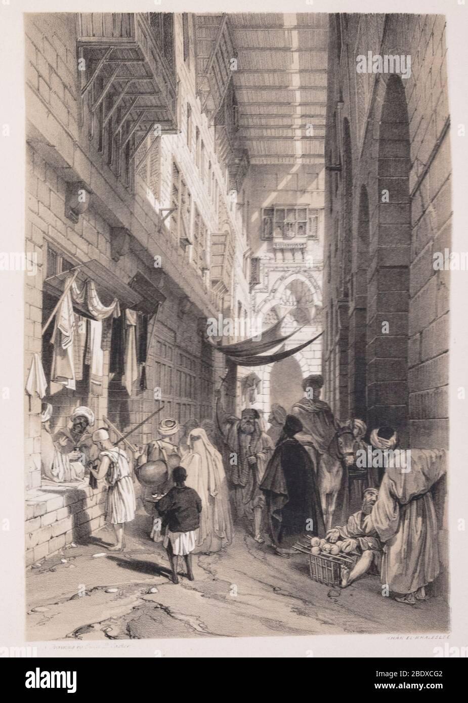 Khan el-Khaleelee, Robert Hay, illustrazioni del Cairo, Londra, 1840 Foto Stock