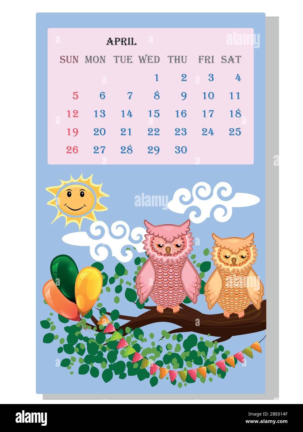 Calendario 2021. Calendario carino con simpatici vignette gufi