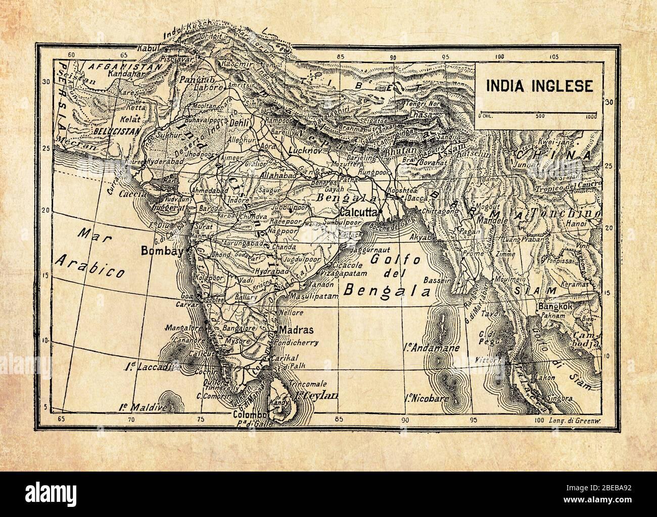 Cartina Muta Del Subcontinente Indiano.Antica Mappa Dell Impero Britannico In India O Raj Britannico Sul Subcontinente Indiano Formata Da India Pakistan E Bangladesh Con Nomi E Descrizioni Geografiche Italiane Foto Stock Alamy