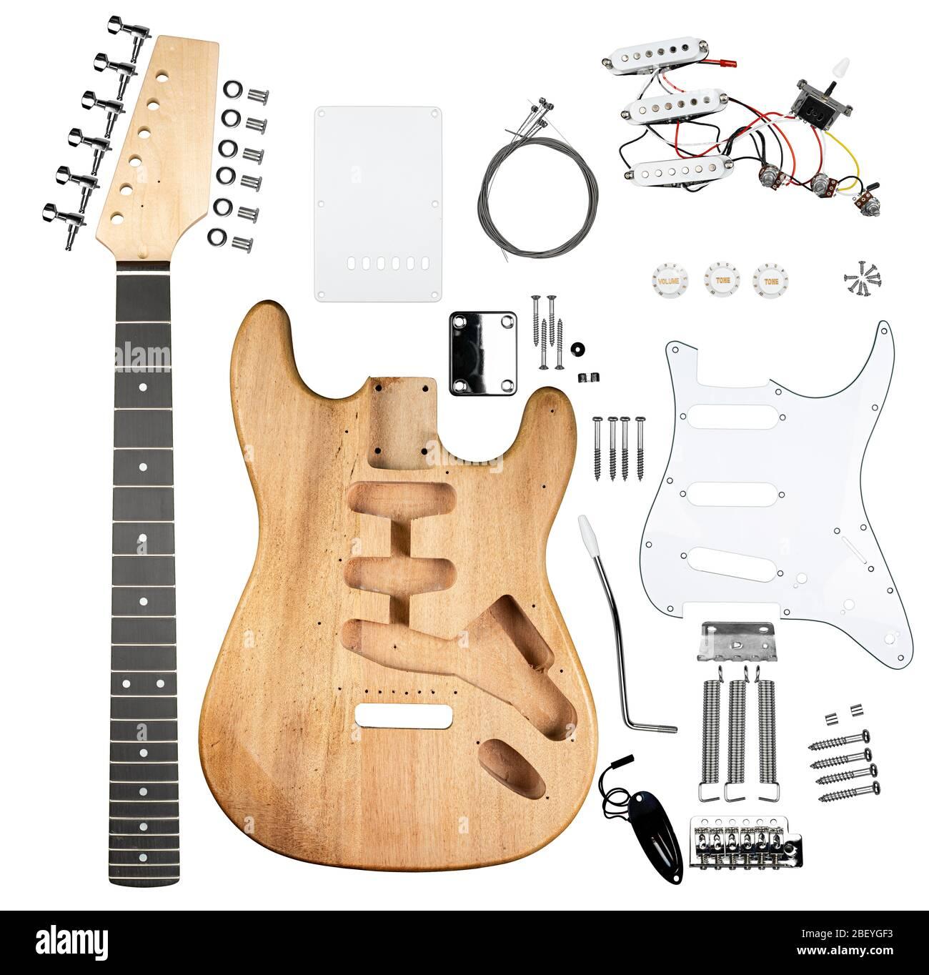 Kit chitarra elettrica fai da te con tutte le parti.