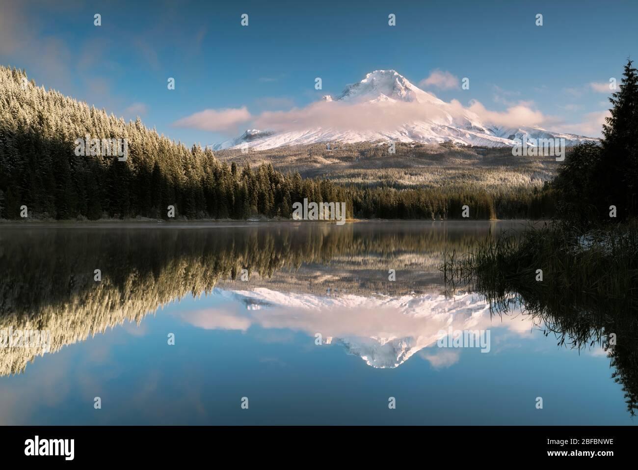 Le nuvole del mattino presto rivelano una fresca nevicata autunnale sulla vetta più alta dell'Oregon, il monte Hood che si riflette nel lago Trillium. Foto Stock