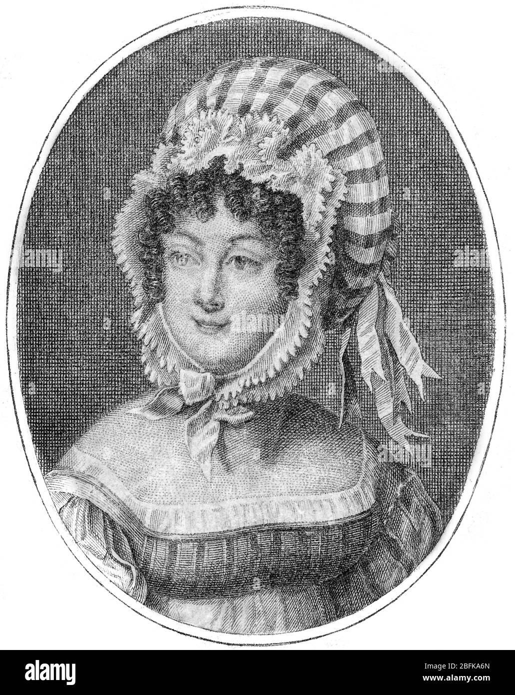 Capo di una donna con un Bonnet a righe, incisione di Saint-Aubin (francese, 1736-1807) Foto Stock
