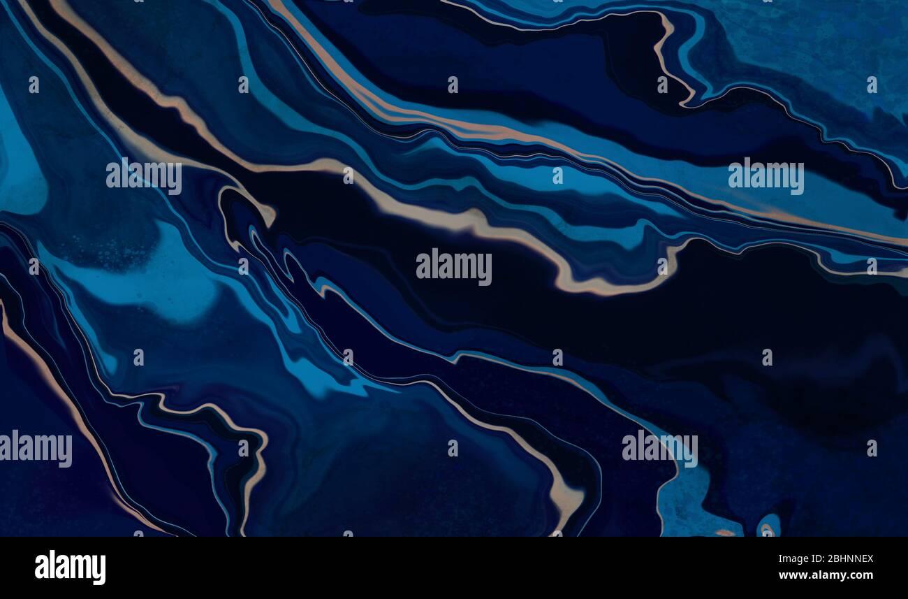 Marmo blu e oro astratto sfondo texture. Blu oceano marmorizzato con vortici di marmo e polvere d'oro in stile lusso naturale. Pittura astratta Foto Stock