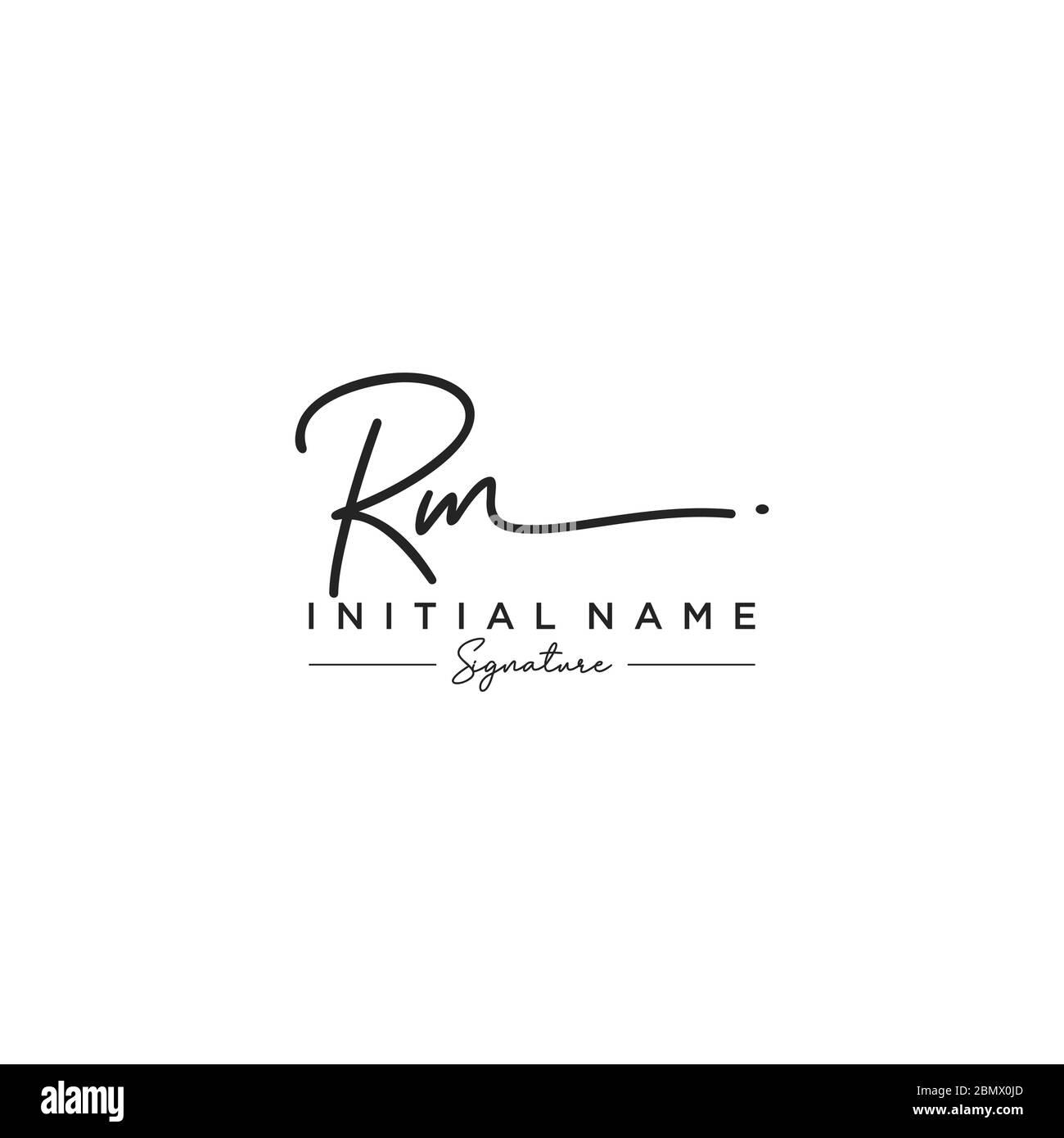 Vettore modello logo firma RM Letter Illustrazione Vettoriale