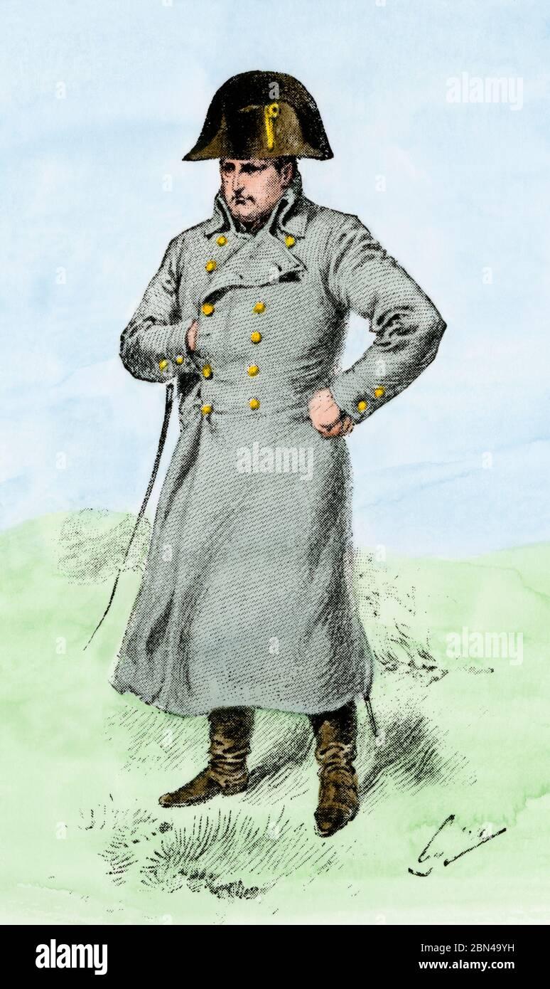 Napoleone nella sua cappotto grigio. Mezzitoni colorati a mano di un'illustrazione Foto Stock