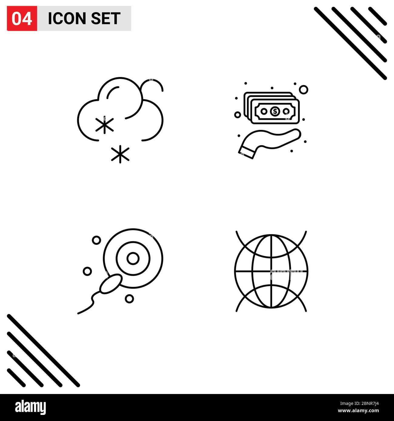 4 concetto di linea per i Web site previsione mobile e delle applicazioni, bio, contanti, soldi, Internet delle cose elementi editabili di disegno vettoriale Illustrazione Vettoriale