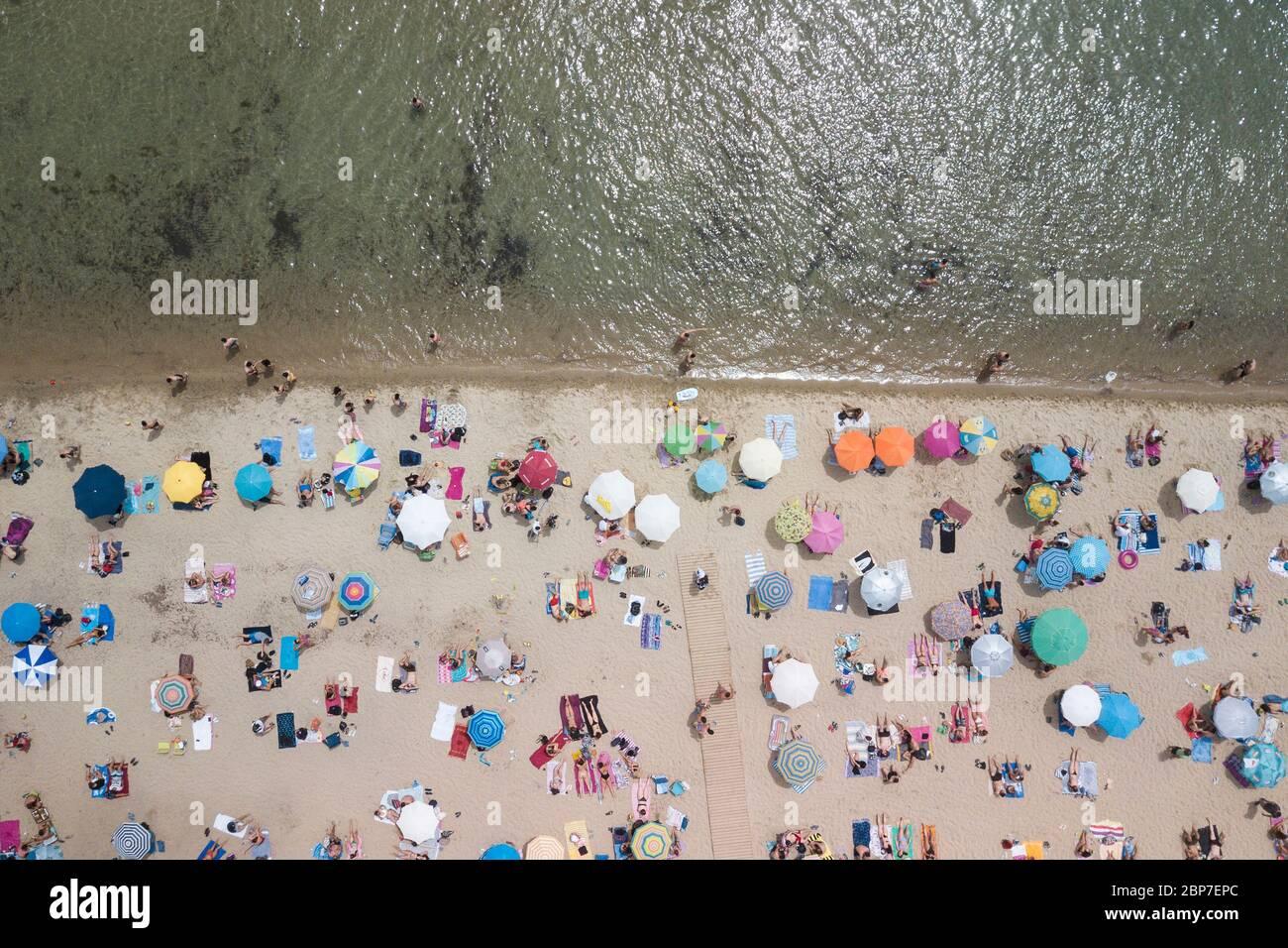Epanomi Beach, Salonicco, Grecia il 17 maggio 2020. Foto Stock