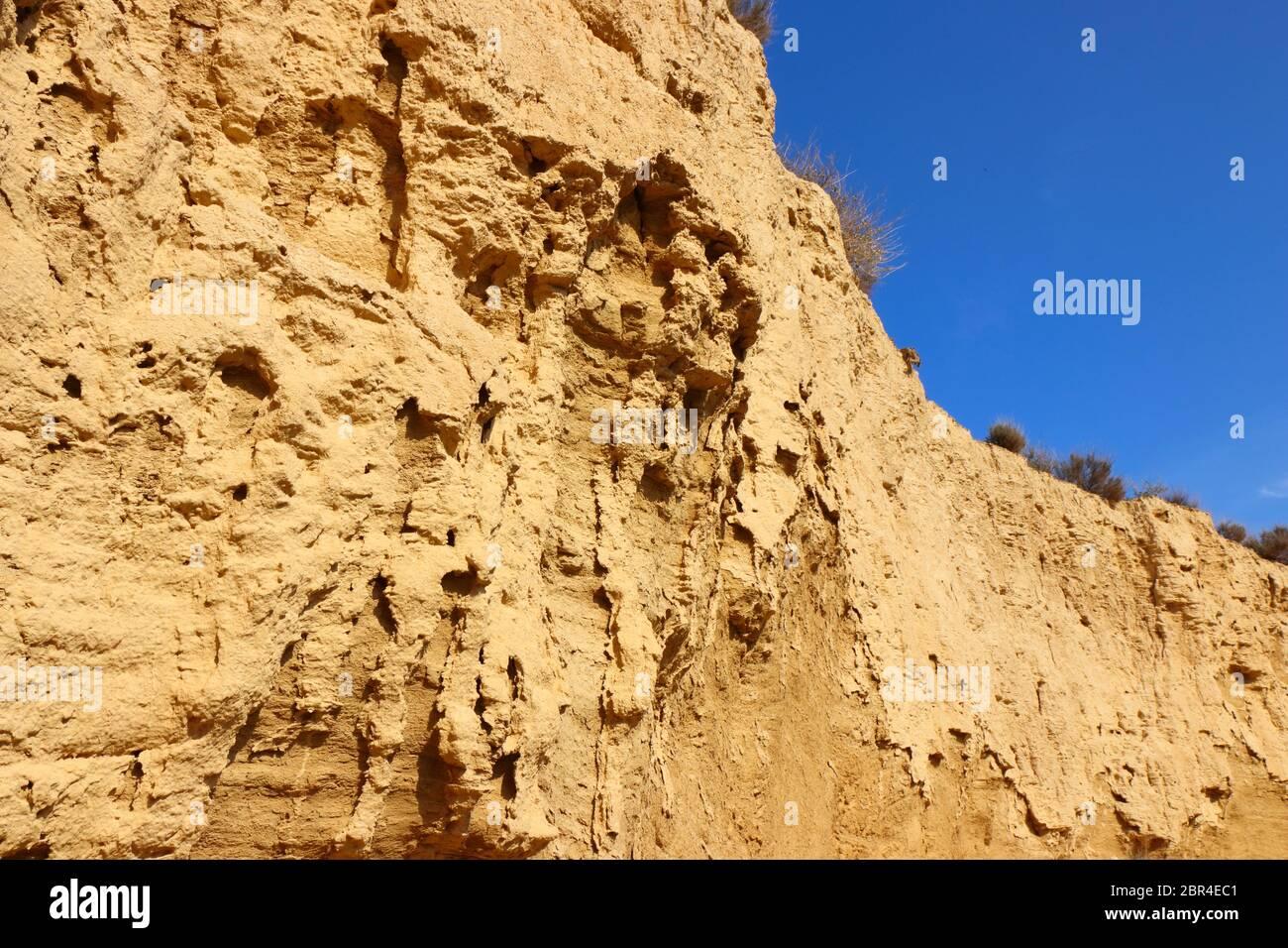Primo piano di sedimenti e caratteristiche erosionali nella regione naturale semi-desertica Bardenas Reales, UNESCO Biosfera Reserve, Navarra, Spagna Foto Stock