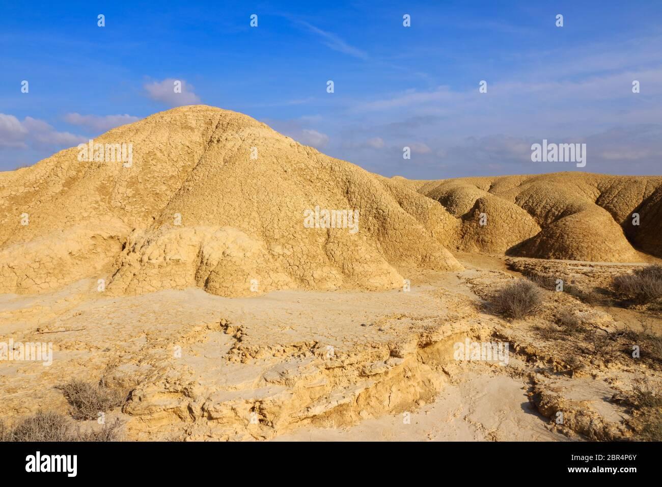 Le terre che colpiscono con crepe di essiccazione distinte nella regione naturale semi-desertica Bardenas Reales, la Riserva della Biosfera dell'UNESCO, Navarra, Spagna Foto Stock