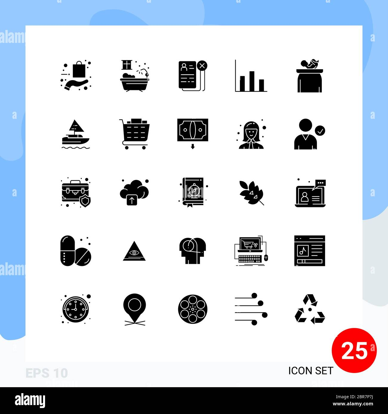 Pacchetto icone vettoriali di stock da 25 simboli e segni di linea per elementi di progettazione vettoriale editabili per bambini, moderati, aziendali, grafici e CV Illustrazione Vettoriale