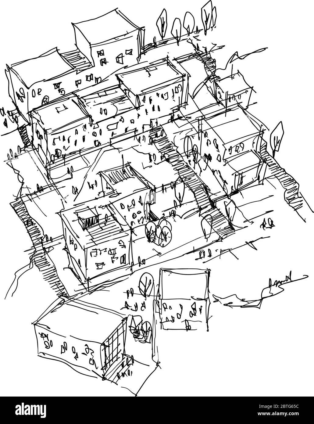 disegno architettonico disegnato a mano di un urbanismo moderno con buidlings e persone intorno Illustrazione Vettoriale