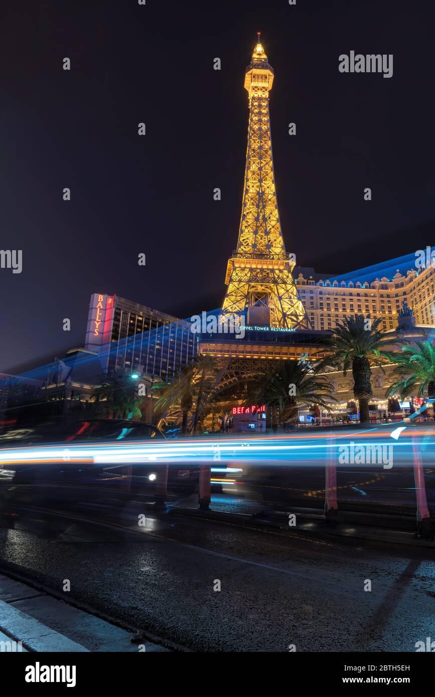 Las Vegas strip di notte Foto Stock