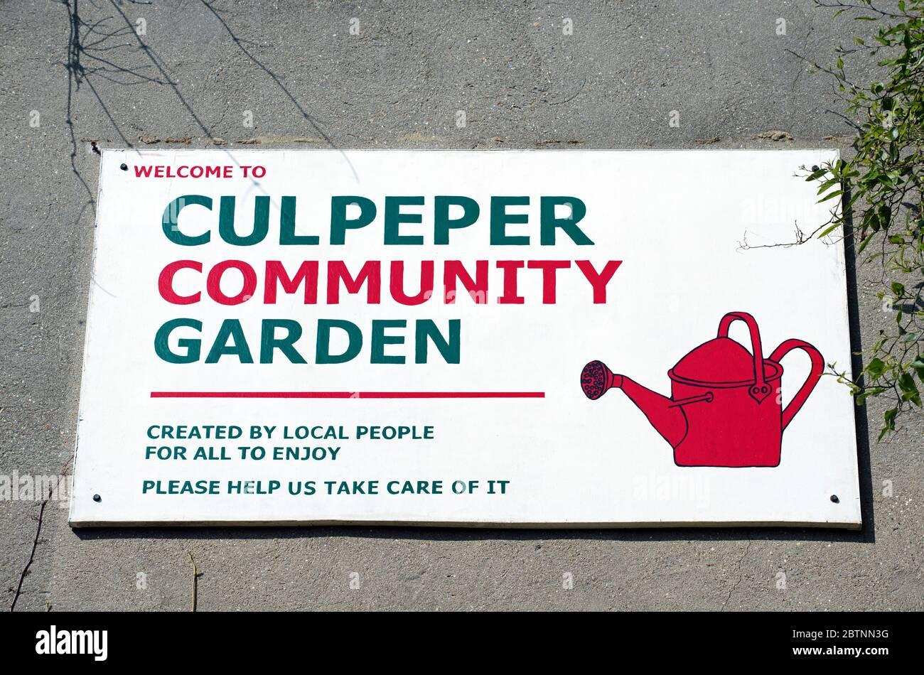 Segno del Giardino della Comunità di Culpeper, giardino della comunità urbana, Borouh di Londra di Islington. Foto Stock