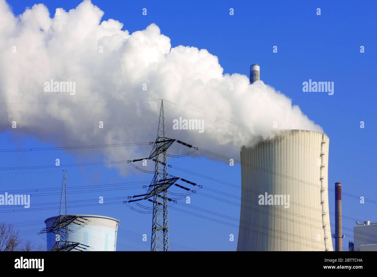 Deutschland, Hessen, Krotzenburg, Braunkohlekraftwerk Staudinger Foto Stock