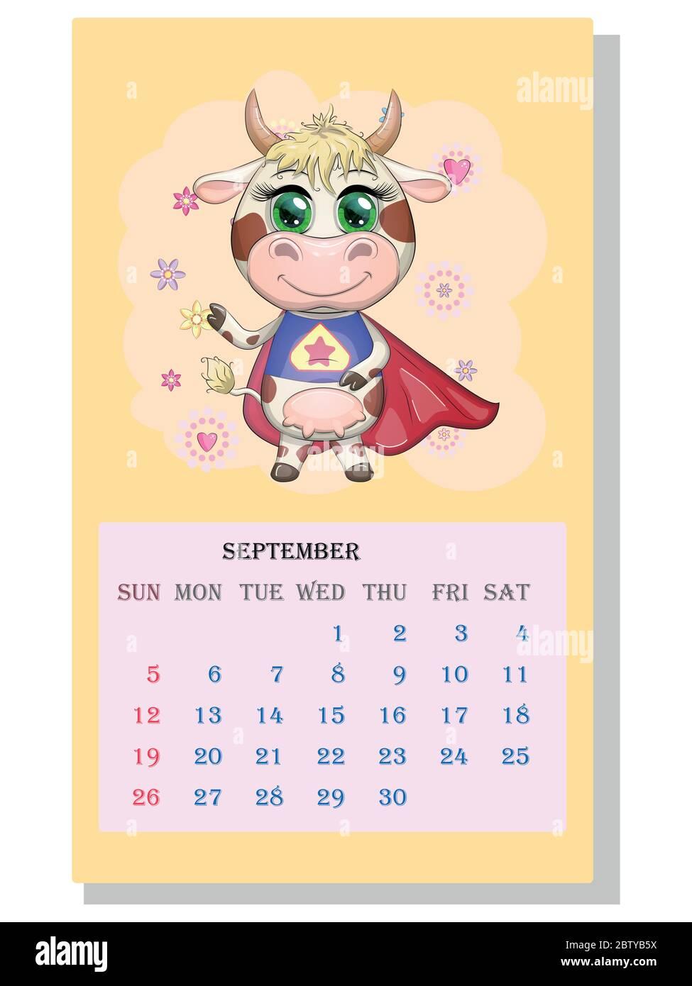 Calendario 2021. Il toro è un simbolo del nuovo anno, la mucca di