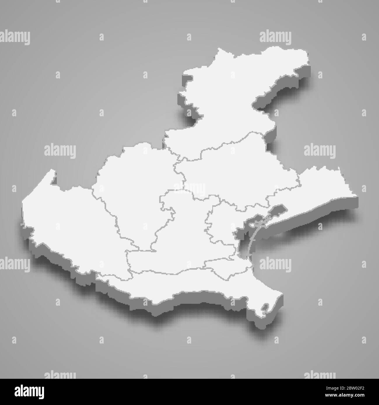 Veneto Regione Cartina.La Mappa 3d Del Veneto E Una Regione D Italia Immagine E Vettoriale Alamy