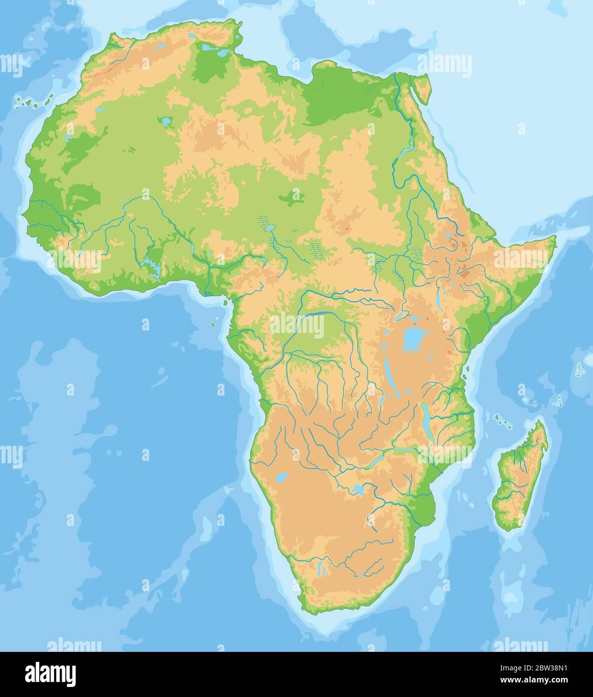 Cartina Geografica Dell Africa Fisica.Mappa Fisica Dell Africa Dettagliata Immagine E Vettoriale Alamy