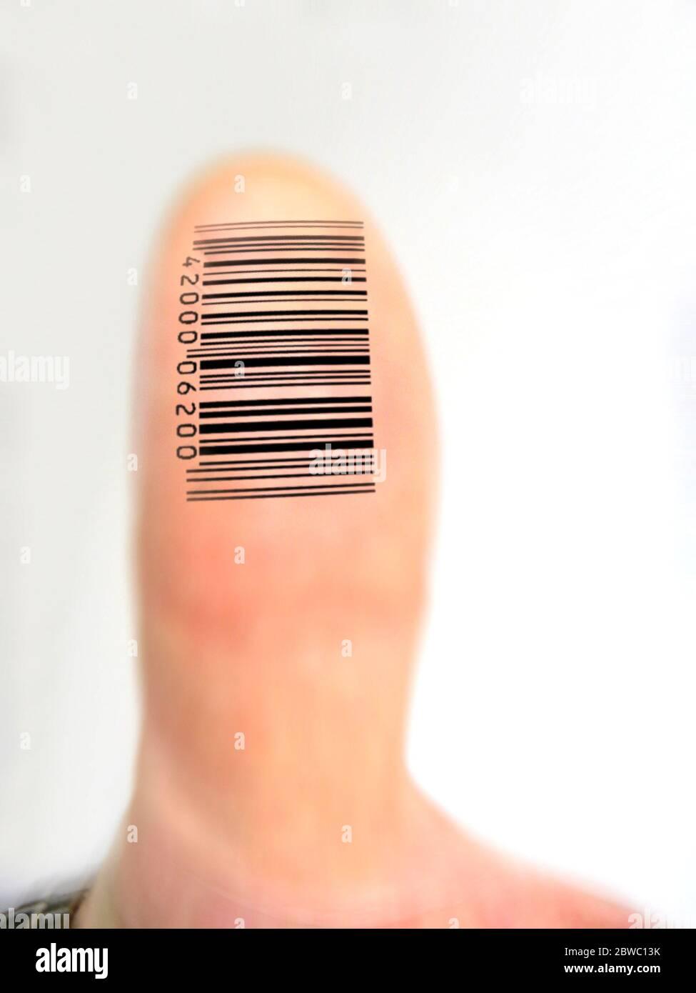 Digitaler Fingerabdruck, Daumen, Foto Stock