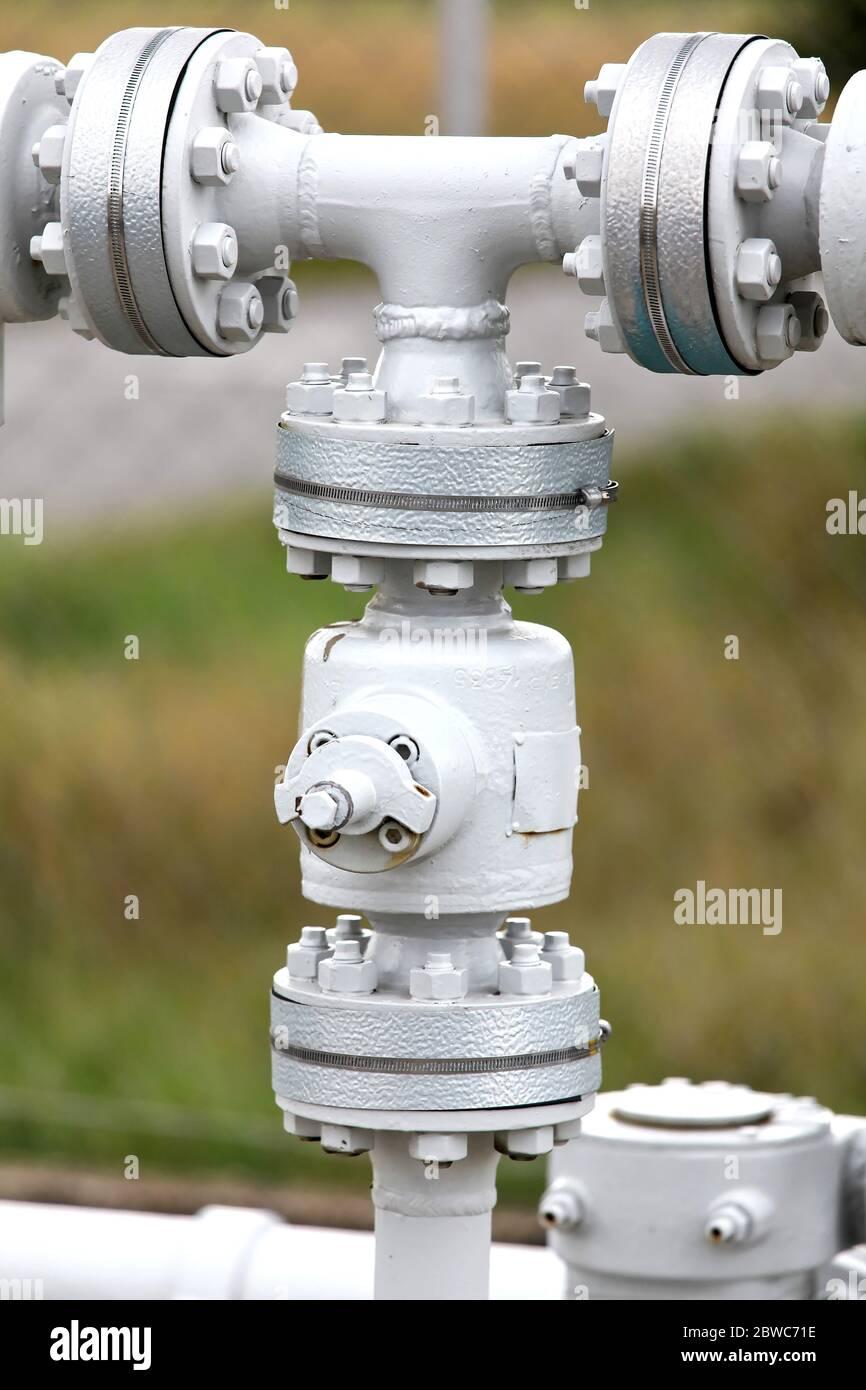 Rohre einer Industrie Gasleitung im Detail Foto Stock