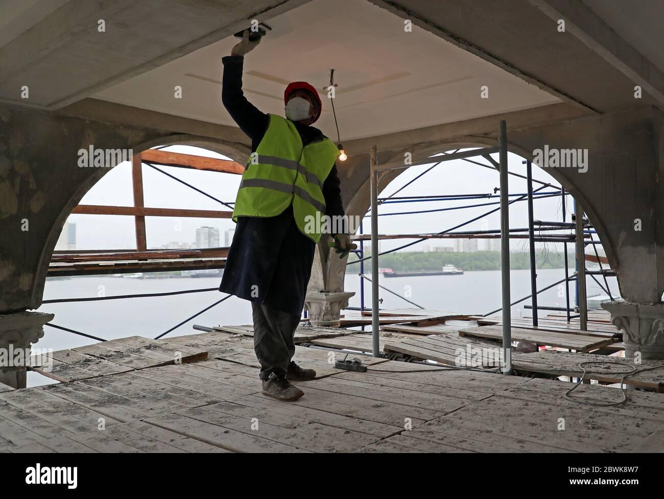 Mosca, Russia. 2 Giugno 2020. Lavori di ristrutturazione in corso presso il North River Terminal. Credit: Gavriil Grigorov/TASS/Alamy Live News Foto Stock