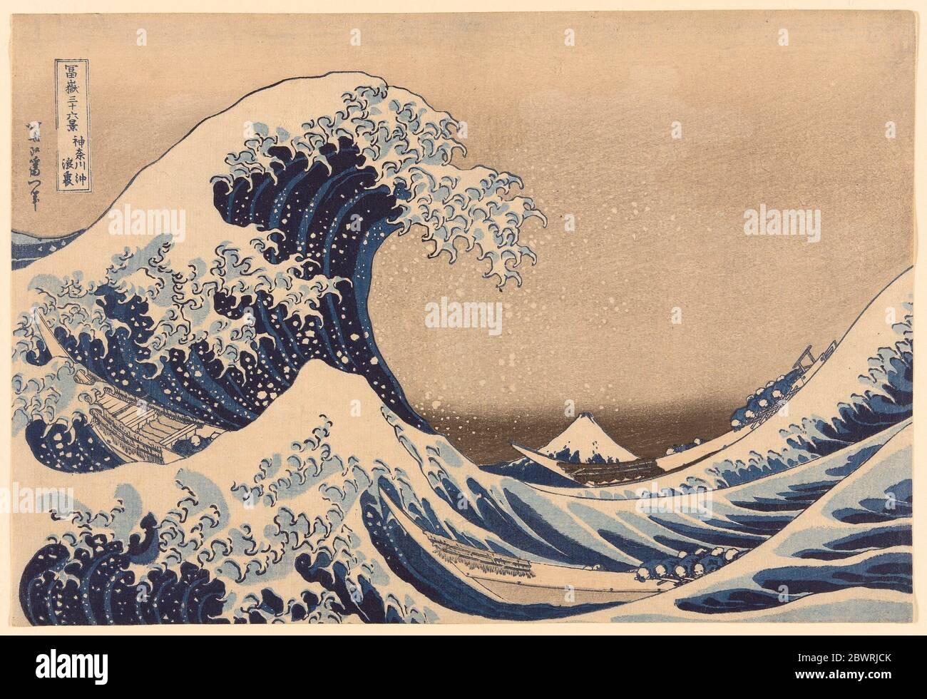 Autore: Katsushika Hokusai. Sotto l'onda fuori Kanagawa (Kanagawa oki nami ura), anche noto come la Grande onda, dalla serie 'trentasei viste Foto Stock