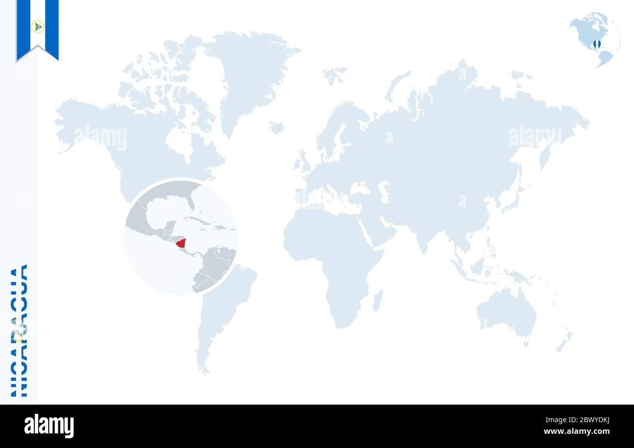 Cartina Del Mondo Ingrandita.Mappa Del Mondo Con Ingrandimento Sul Nicaragua Globo Blu Con Bandiera Nicaragua Ingrandisci La Cartina Del Nicaragua Illustrazione Vettoriale Immagine E Vettoriale Alamy