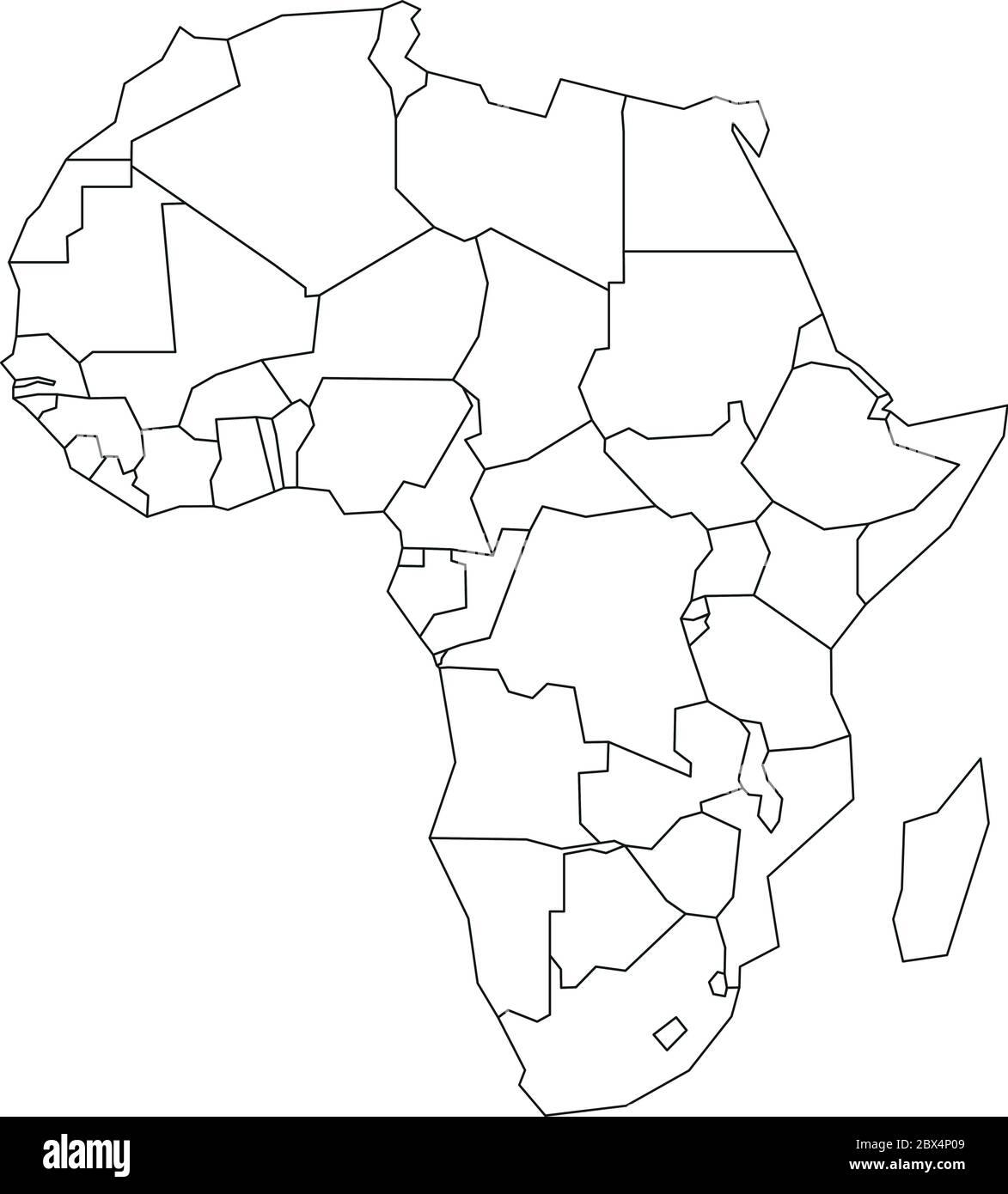 Cartina Dell Africa In Bianco E Nero.Mappa Politica Dell Africa Contorno A Reticolo Nero Semplificato Illustrazione Vettoriale Immagine E Vettoriale Alamy