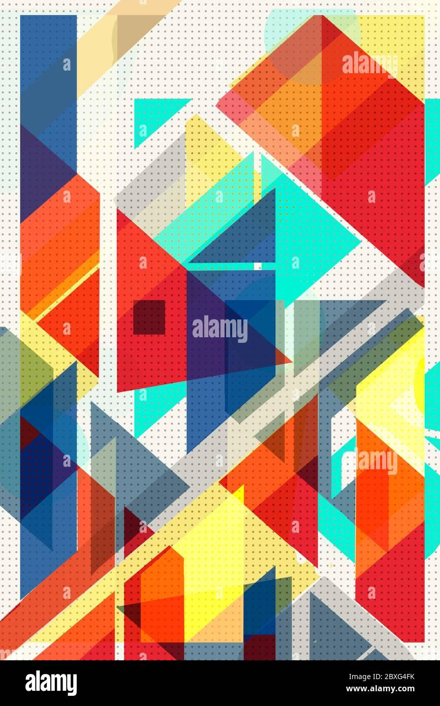 Coloratissima copertura geometrica Modernismo svizzero, cubi e triangoli. Arancione, giallo blu e rosso. Il modello astratto forma gli sfondi concettuali per a. Foto Stock