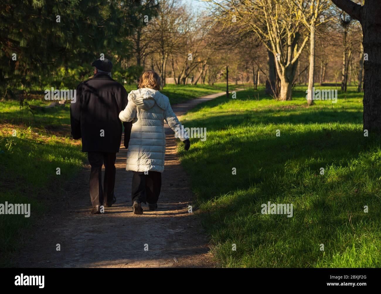Coppia anziana che cammina nella foresta di Vincennes di Parigi, in Francia, in rara giornata di sole in inverno. Vista posteriore. Stile di vita sano e attivo. Concetto di benessere per anziani. Foto Stock