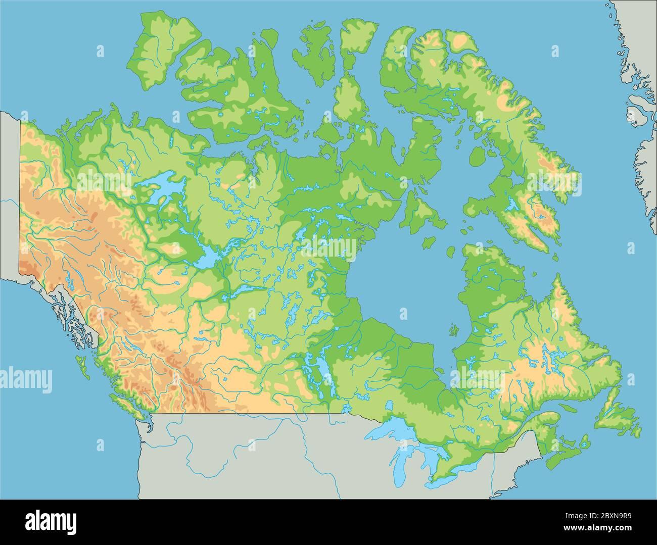 Canada Cartina Fisica.Mappa Fisica Canada Dettagliata Immagine E Vettoriale Alamy