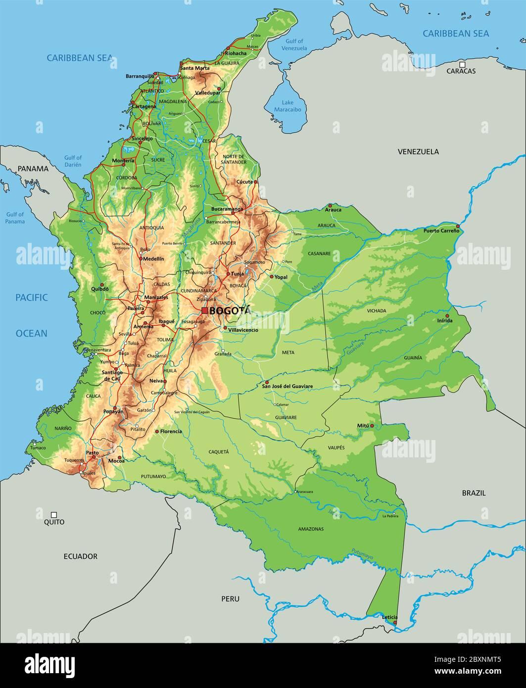 Cartina Fisica America Latina.Mappa Fisica Della Colombia In Alto Dettaglio Immagine E Vettoriale Alamy