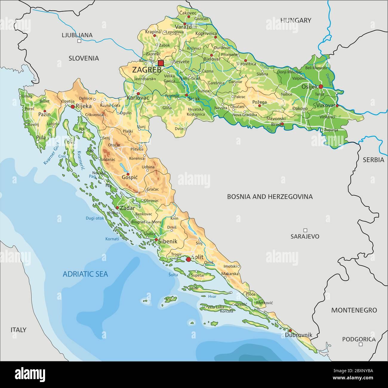 Cartina Geografica Italia Croazia.Mappa Fisica Della Croazia Con Etichettatura Immagine E Vettoriale Alamy