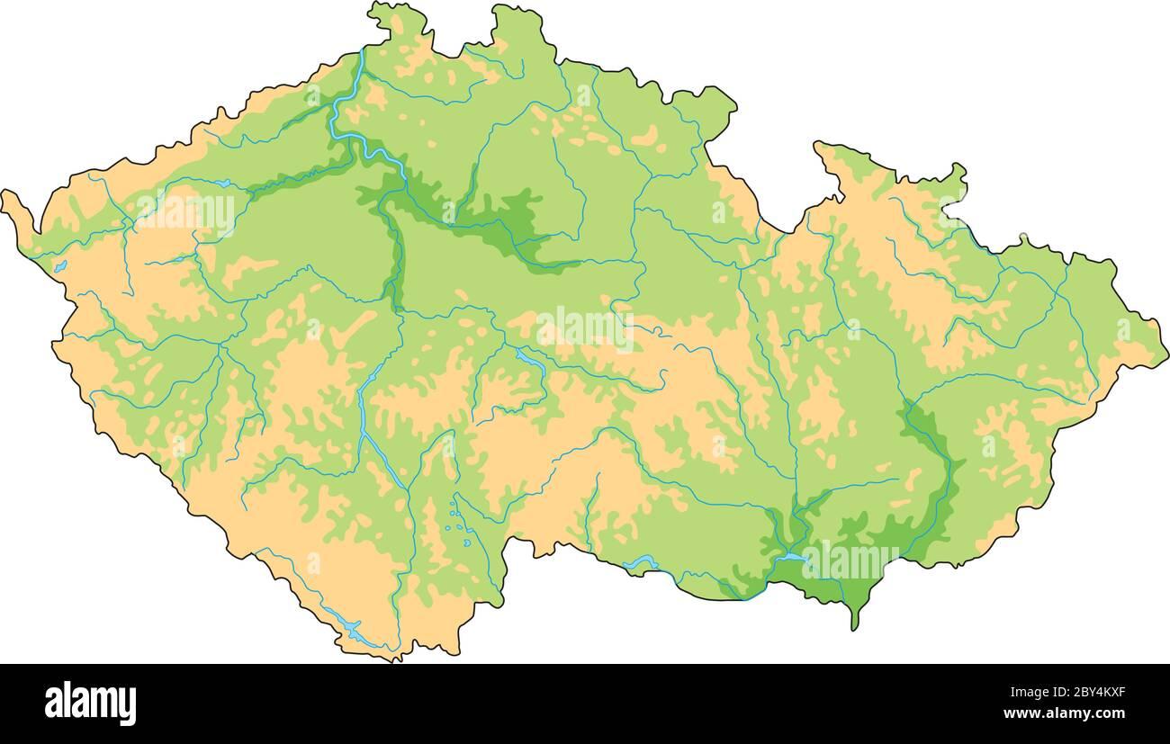 Cartina Fisica Muta Germania.Mappa Fisica Della Repubblica Ceca In Alto Dettaglio Immagine E Vettoriale Alamy