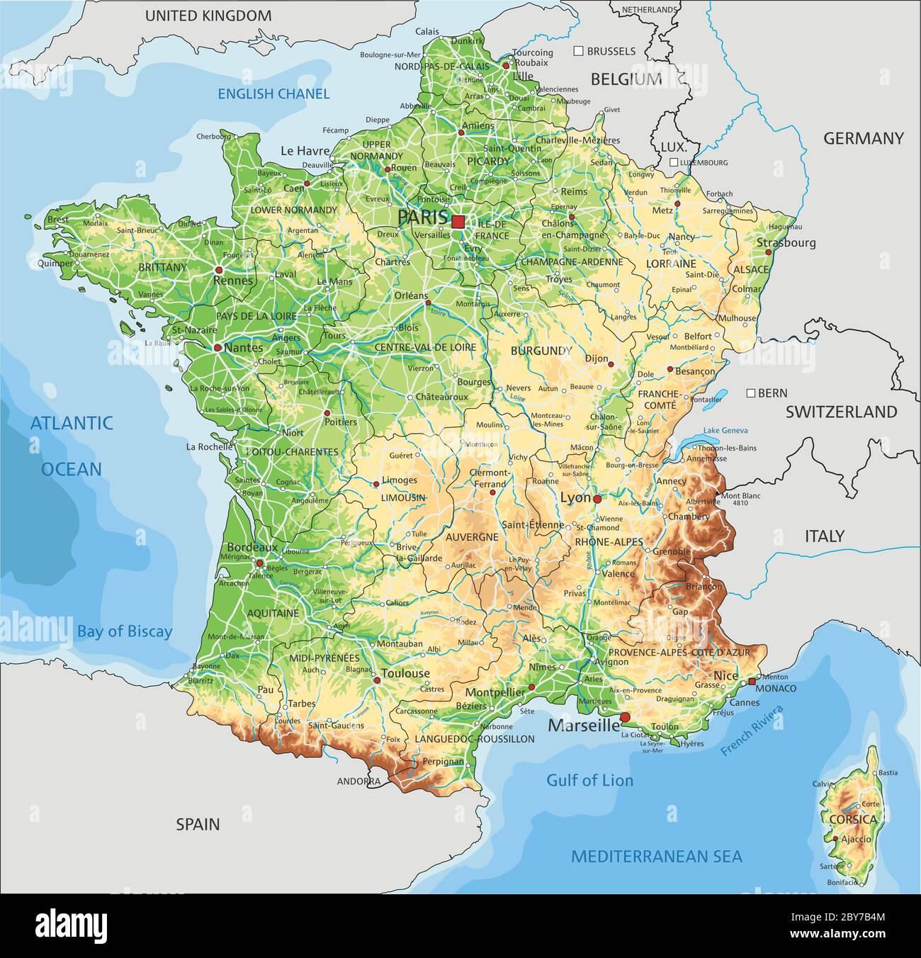 Cartina Italia Fisica Vettoriale.Mappa Fisica Della Francia Con Etichettatura Immagine E Vettoriale Alamy