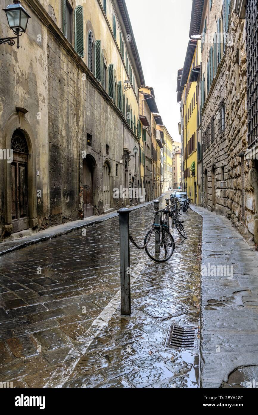 Old Street - Vista verticale grandangolare di una stretta strada lastricata in pietra nel centro storico di Firenze in un giorno d'autunno piovoso. Toscana, Italia. Foto Stock