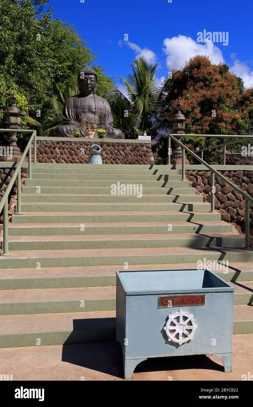 Grande Buddha, Lahaina Jodo Mission, Lahaina, Maui Island, Hawaii, USA Foto Stock