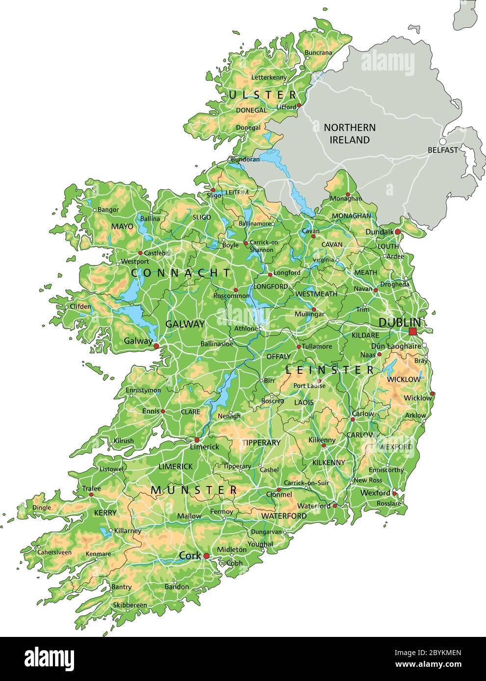 Cartina Geografica Dell Irlanda.Mappa Fisica Irlanda Con Etichettatura Immagine E Vettoriale Alamy