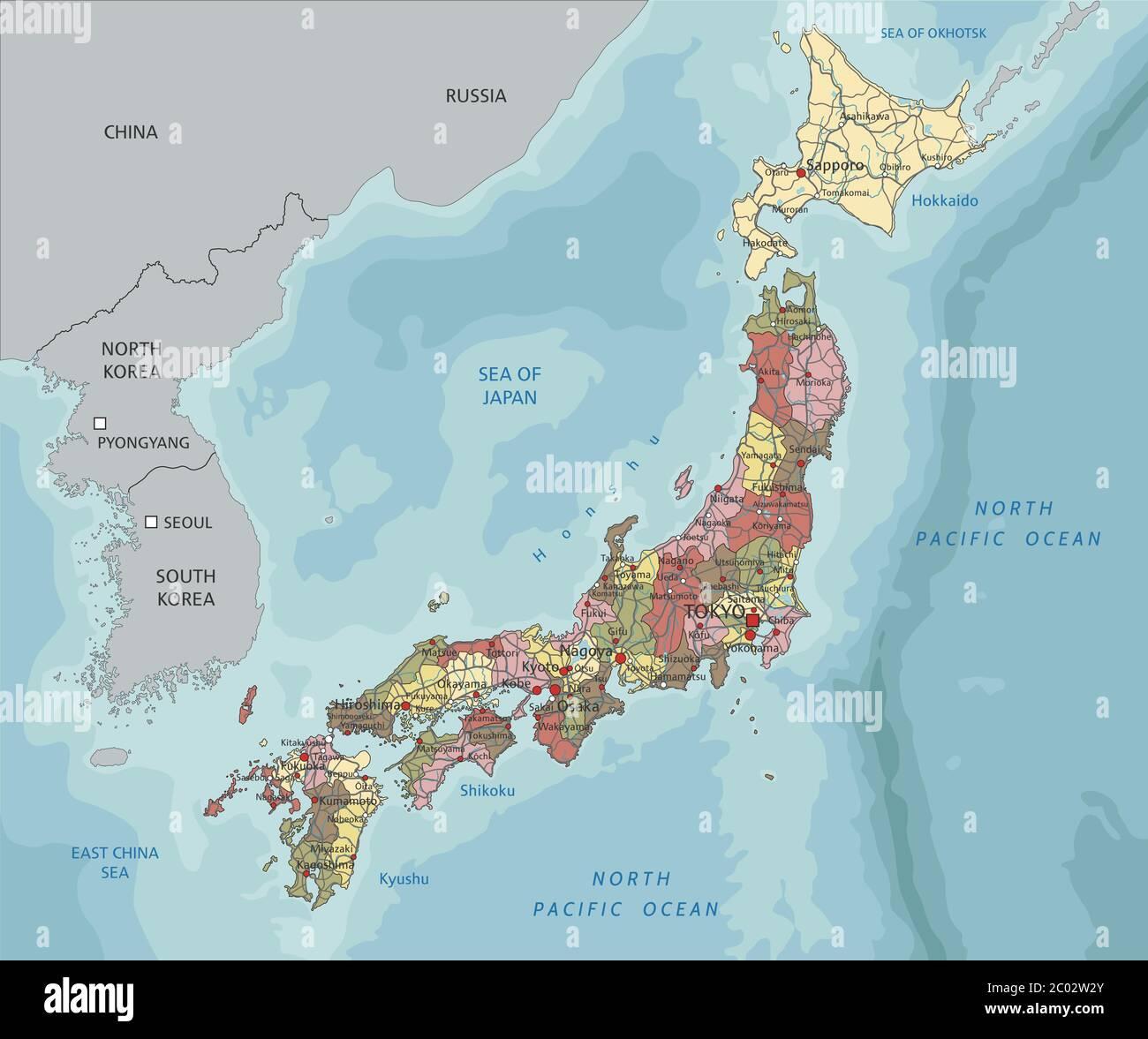 Il Giappone Cartina Politica.Mappa Politica Del Giappone Immagini E Fotos Stock Alamy