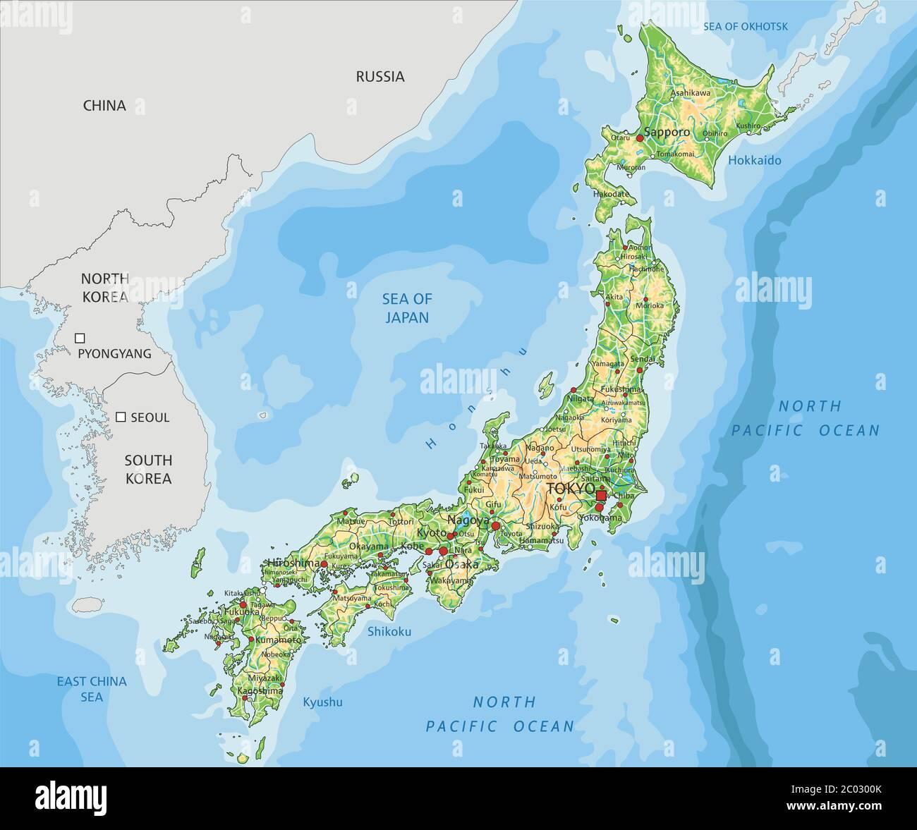 Cartina Fisica Del Giappone In Italiano.Mappa Fisica Del Giappone Dettagliata Immagine E Vettoriale Alamy