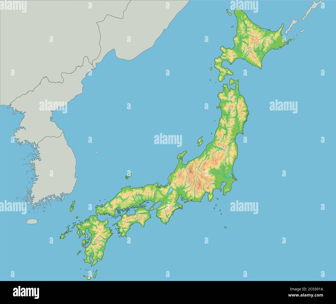 Cartina Giappone In Italiano.Mappa Fisica Del Giappone Dettagliata Immagine E Vettoriale Alamy