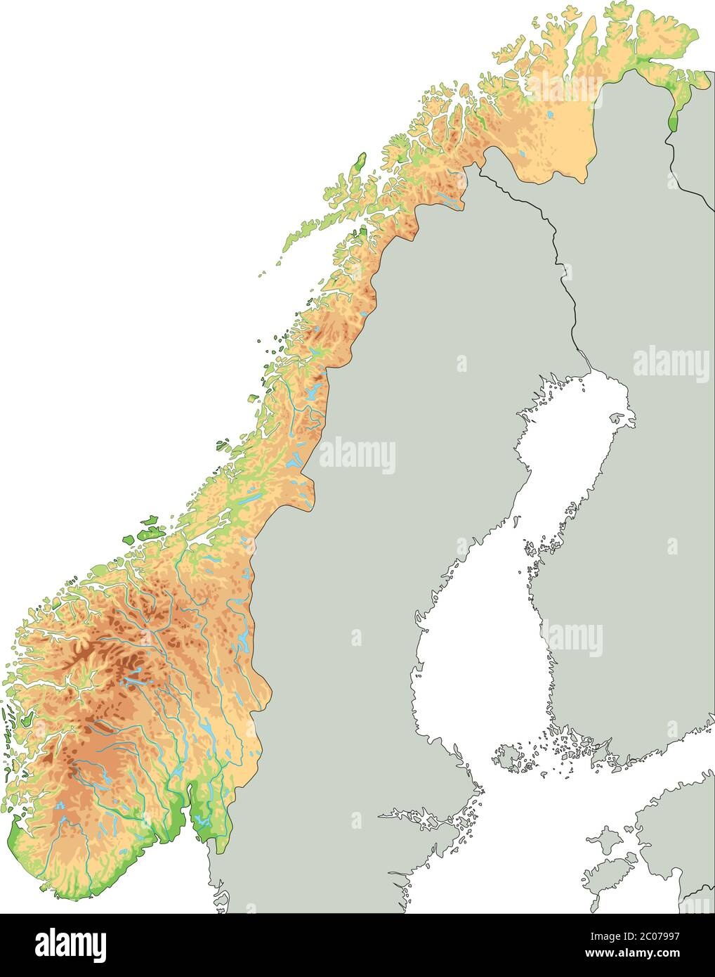La Norvegia Cartina.Mappa Fisica Della Norvegia Dettagliata Immagine E Vettoriale Alamy