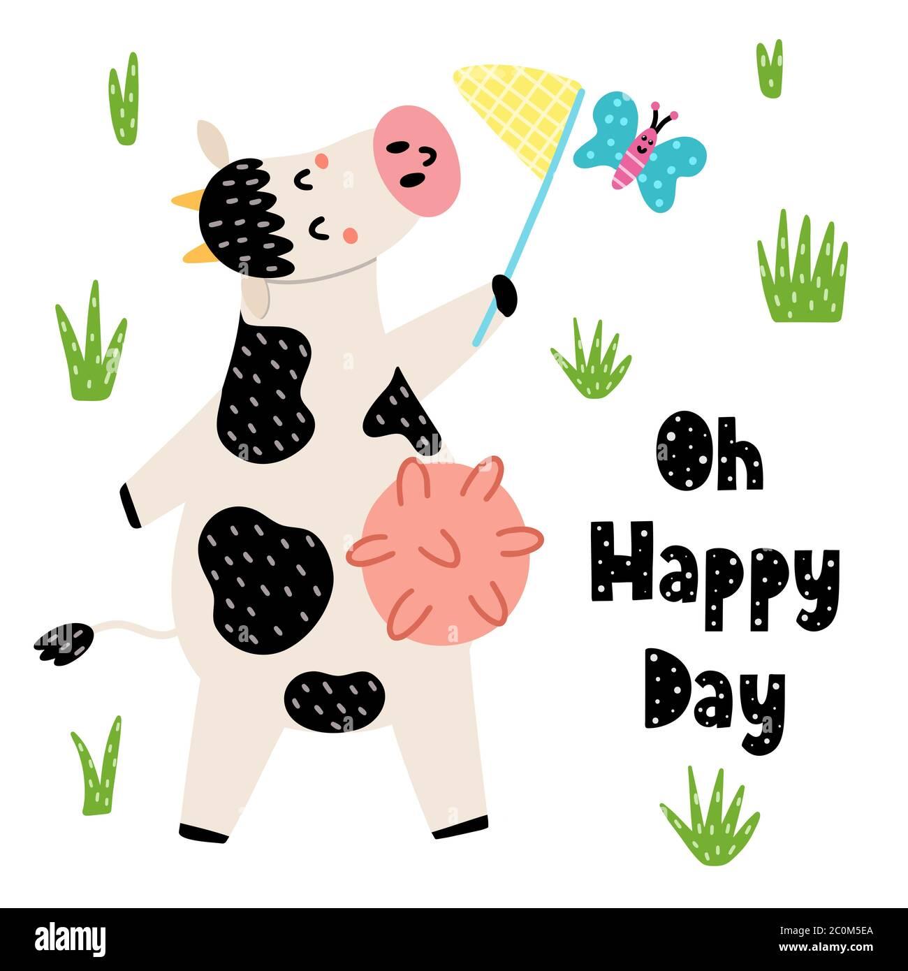 OH carte giorno felice con una mucca carina cattura una farfalla da rete Illustrazione Vettoriale