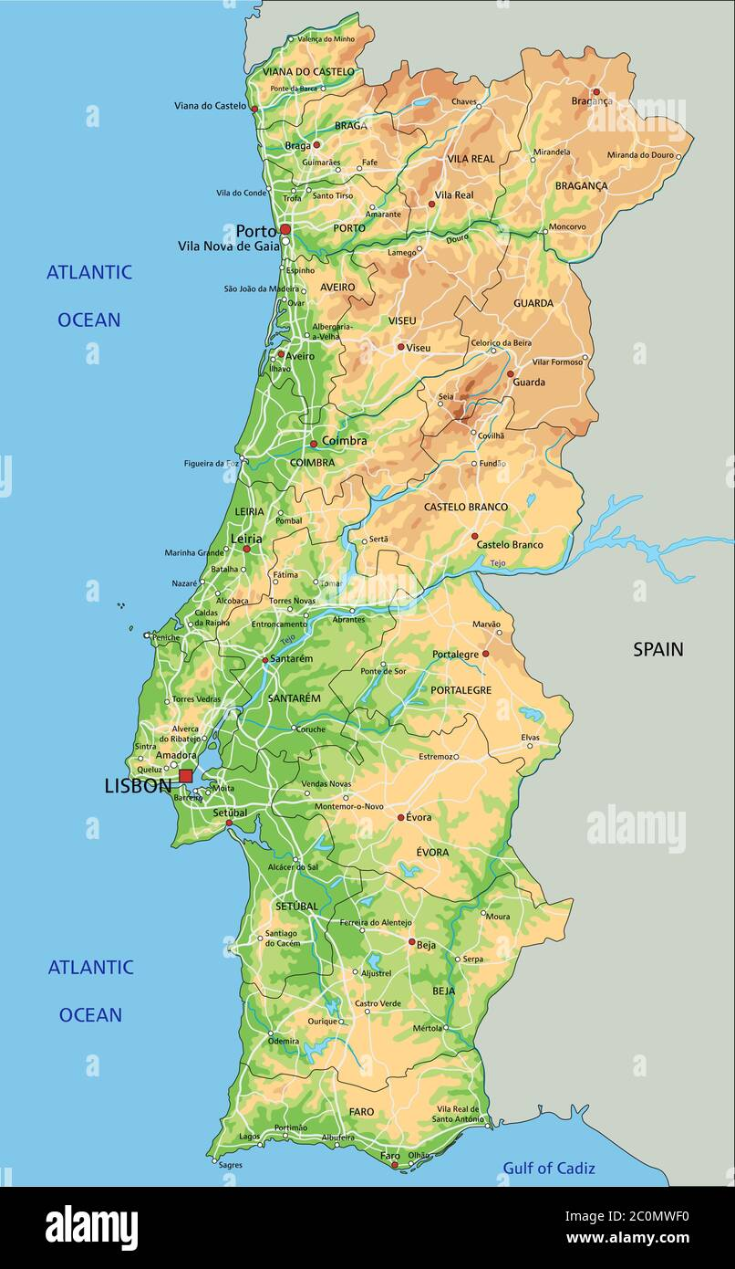 Cartina Del Portogallo Muta.Mappa Fisica Spagna Immagini E Fotos Stock Alamy